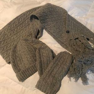 Gap grey gloves, scarf and mittens bundle